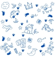 Children toys doodle art vector image
