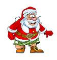cartoon caricature of Santa Claus in shorts vector image