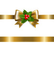 golden bow with holly berry vector image