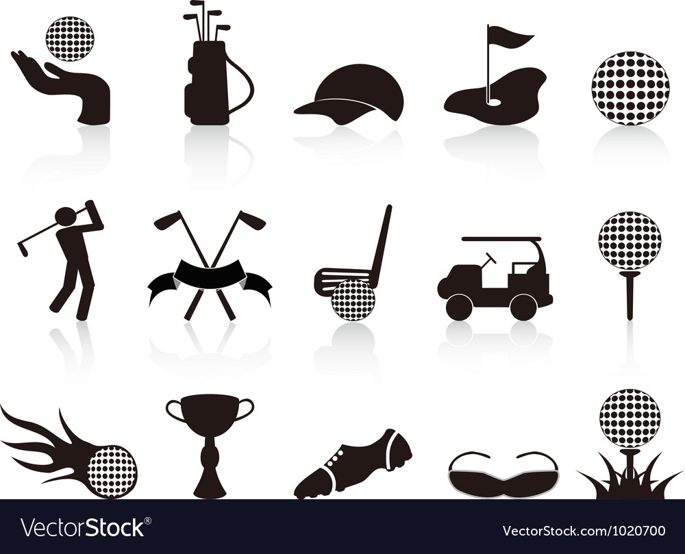 Black golf icons set vector