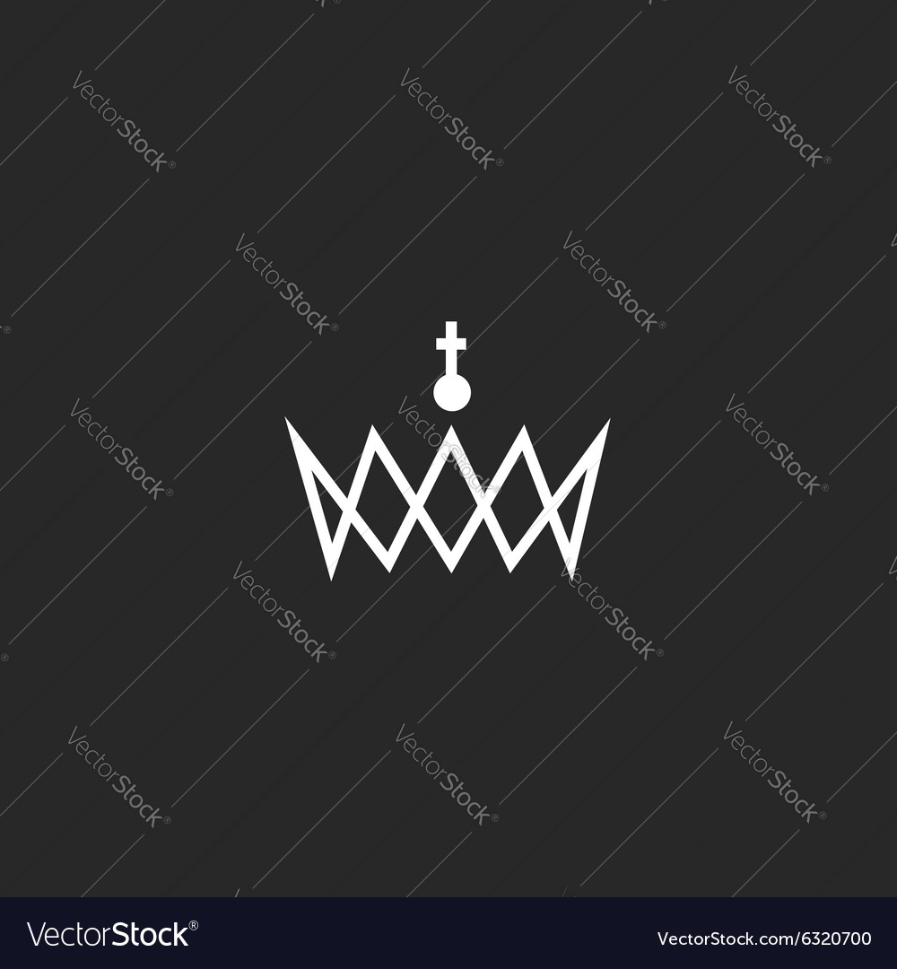 Royal crown monogram logo black and white mockup vector
