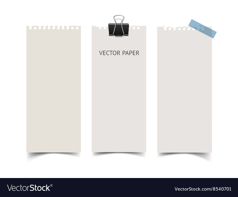Set of vertical paper card banners realistic vector