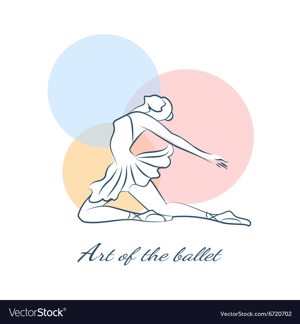 Art of the ballet logo with ballerina vector
