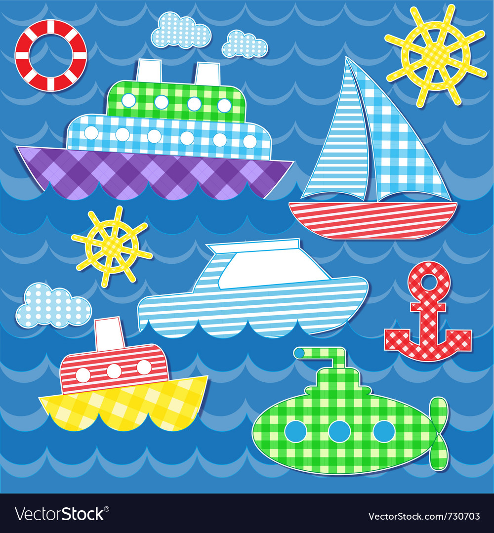 Sea transport stickers vector