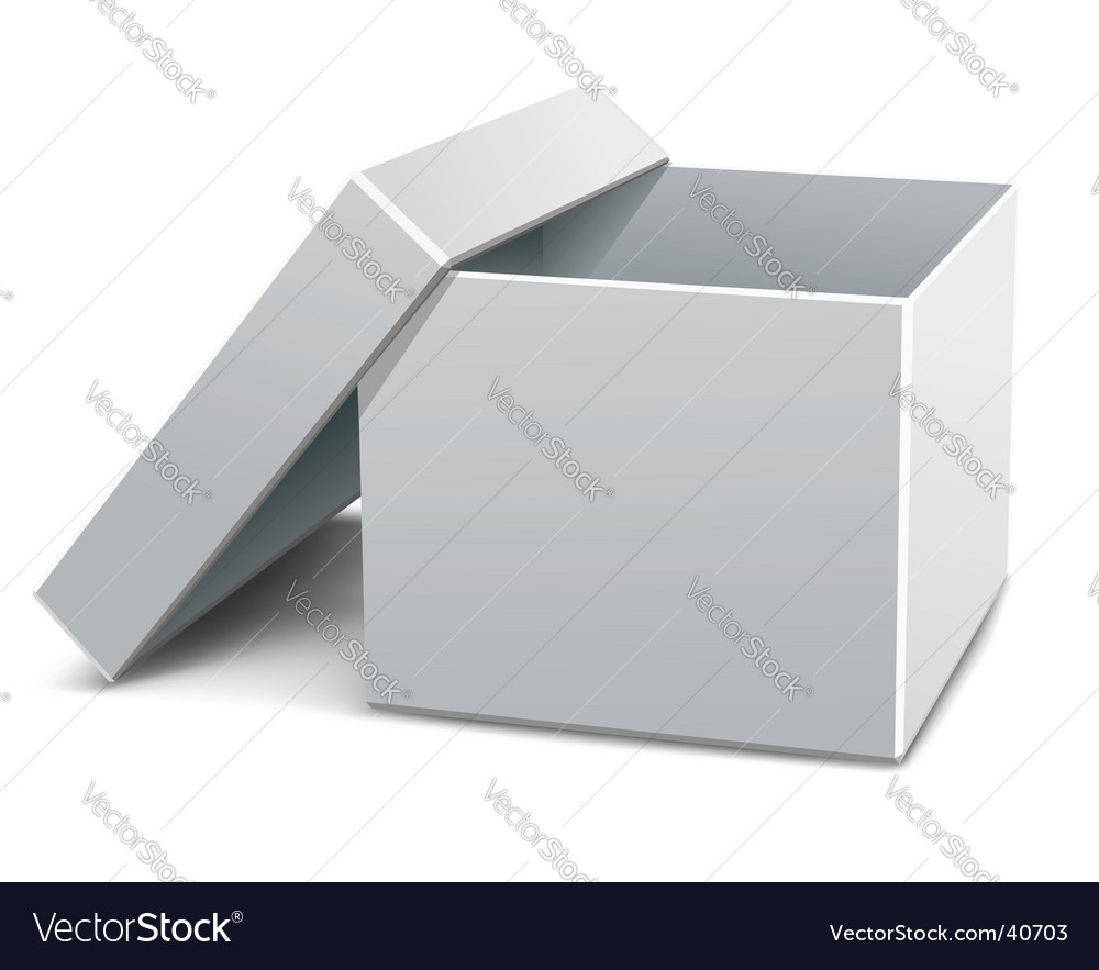 White empty opened cardboard box vector