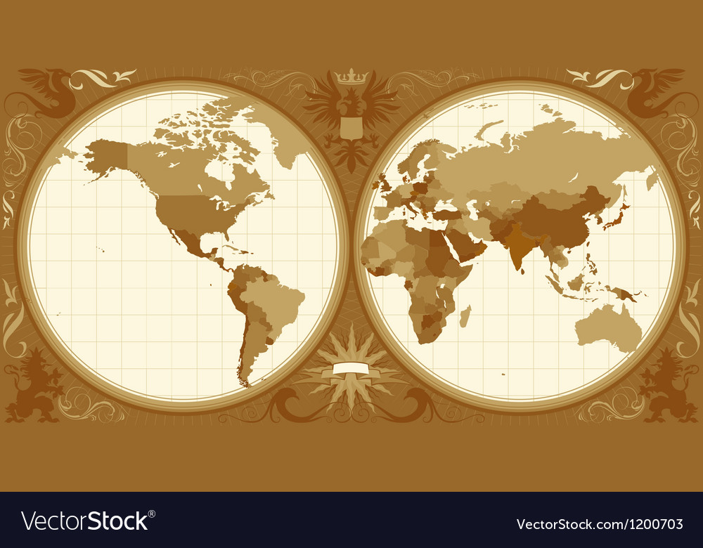 World map with retrostyled hemispheres vector