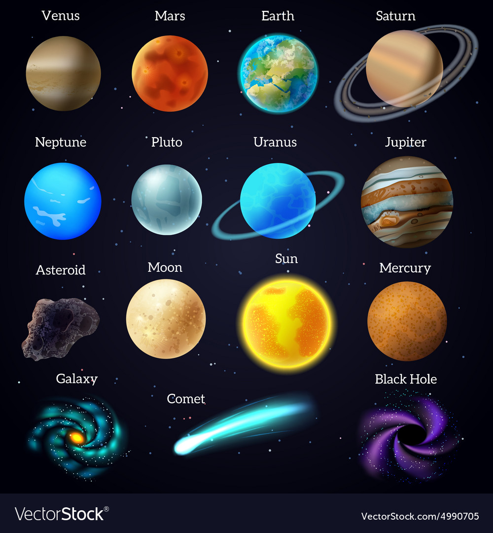 Cosmos stars planets galaxy icons set vector
