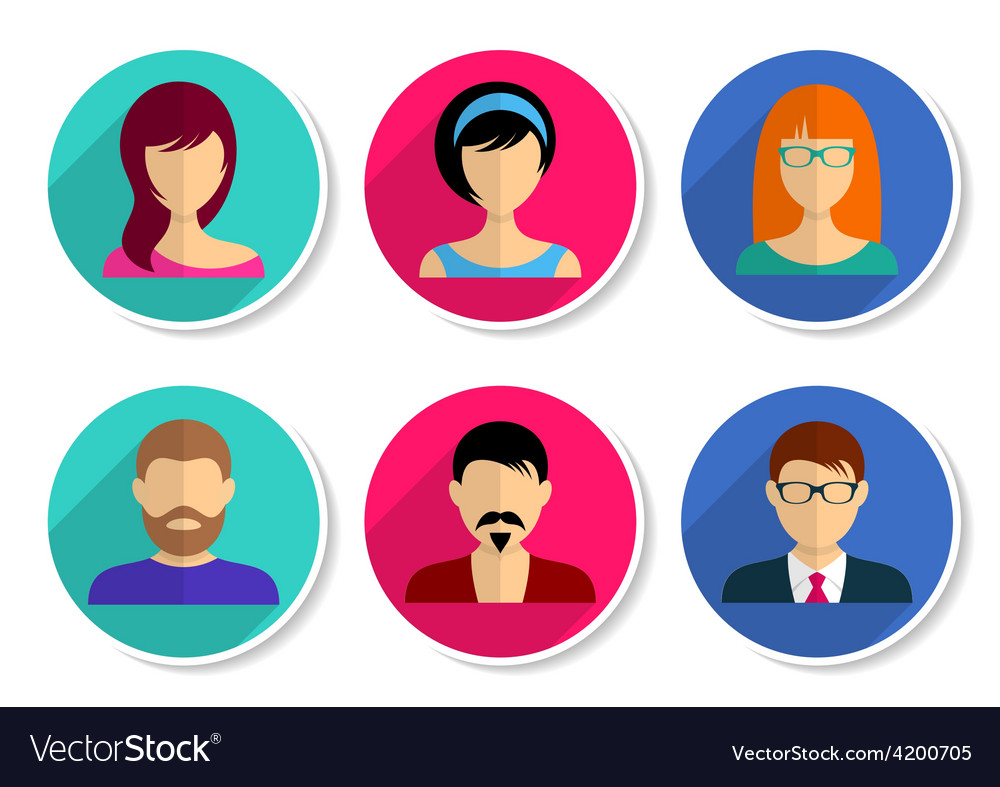 Men and women avatar icons vector