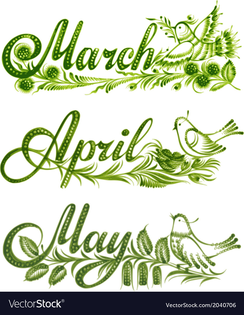Set name of the month spring vector