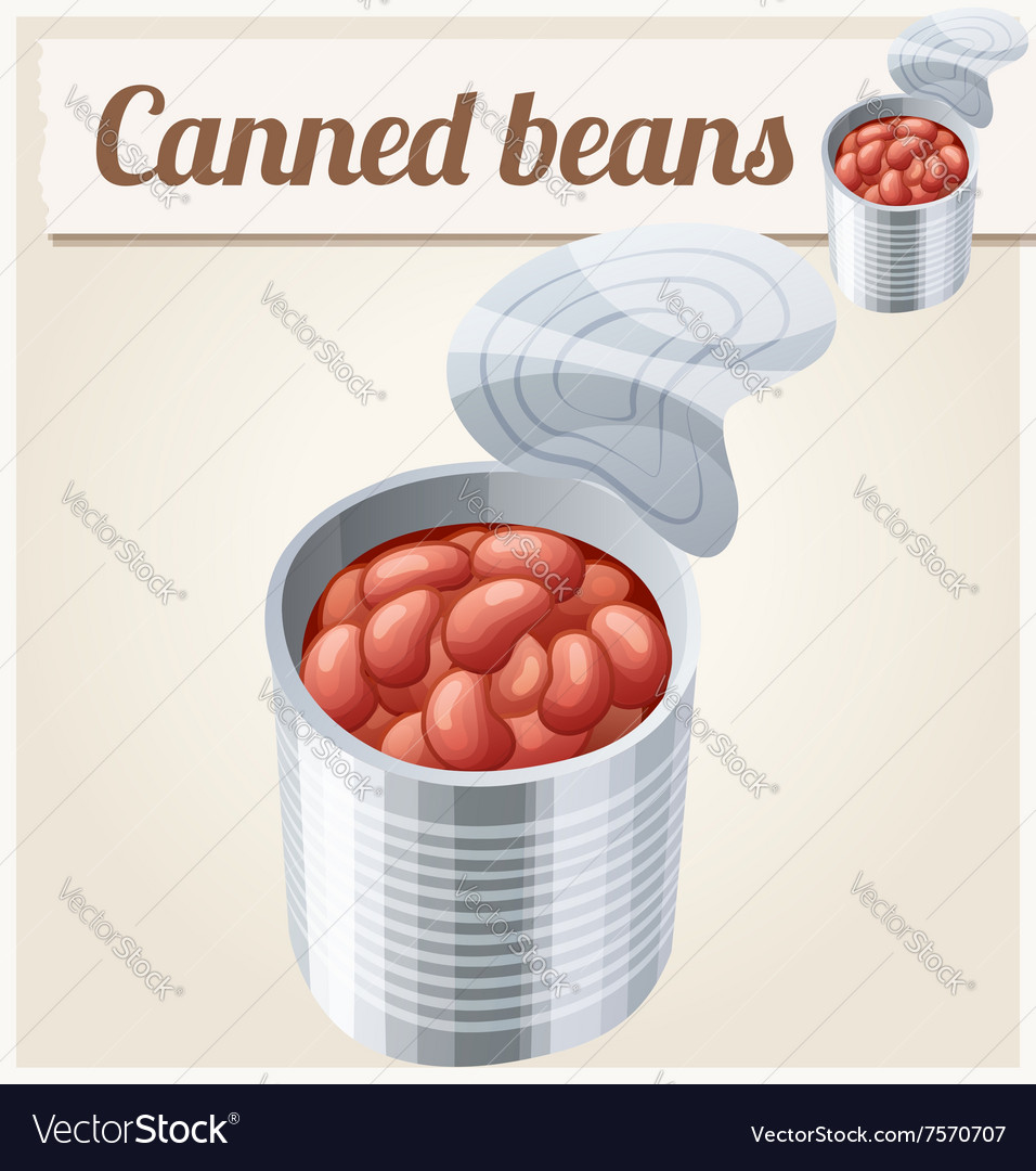 Canned beans detailed icon vector