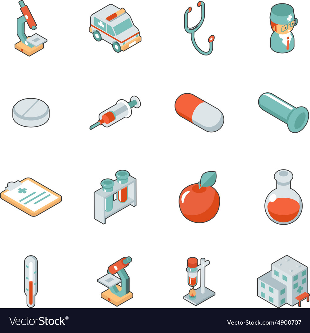 Medicine and health care isometric 3d icons vector