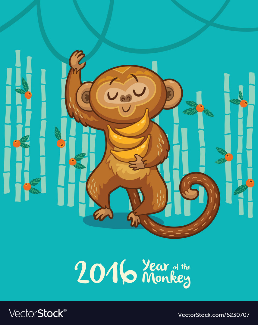 New year card with monkey for year 2016 vector