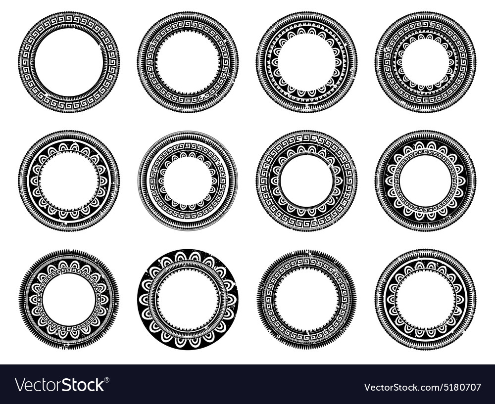 Set of circle polynesian tattoo vector
