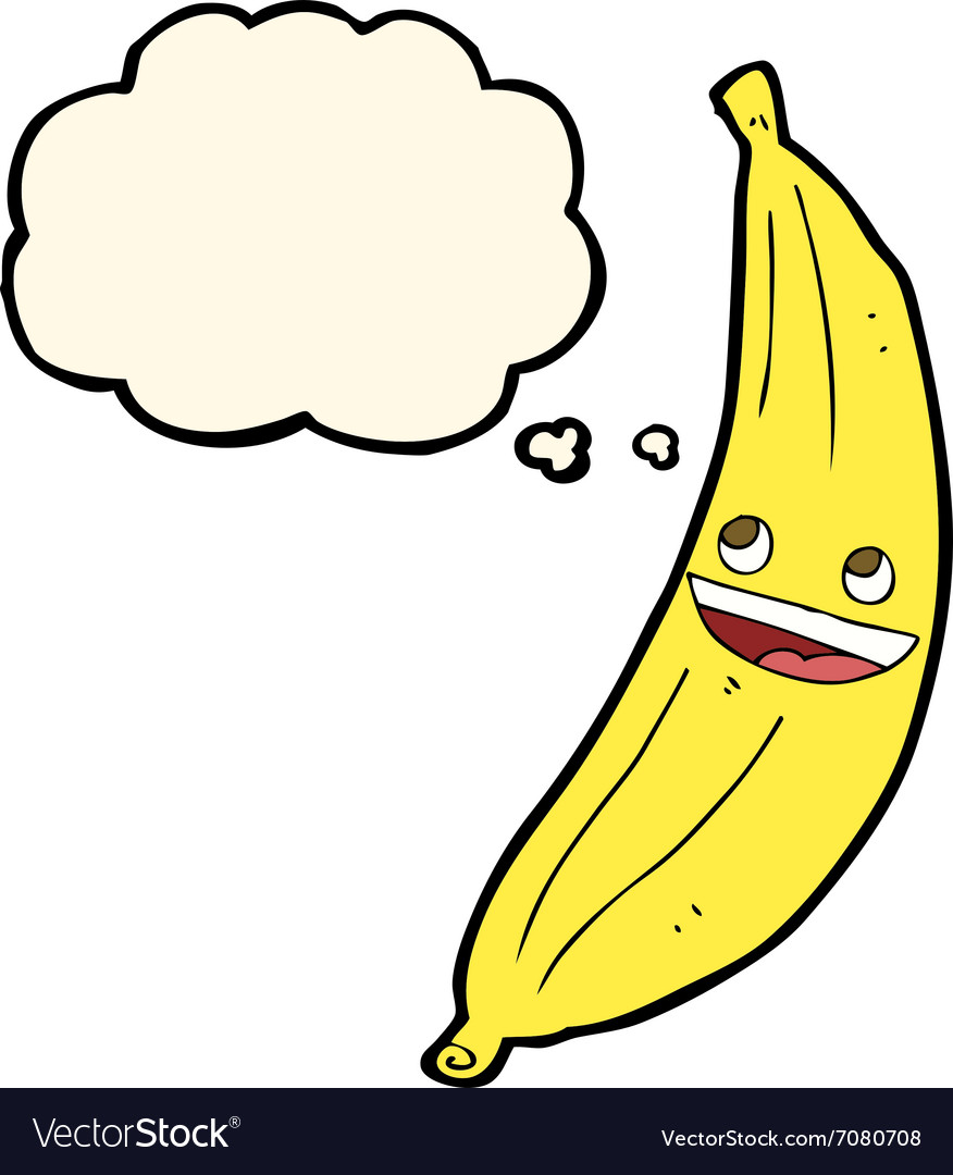 Cartoon happy banana with thought bubble vector