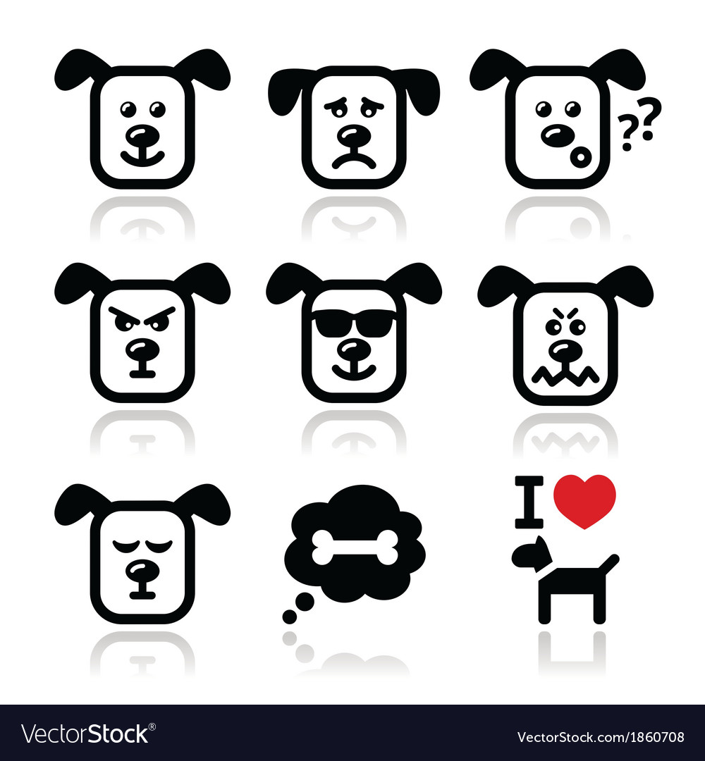 Dog icons set  happy sad angry isolated vector