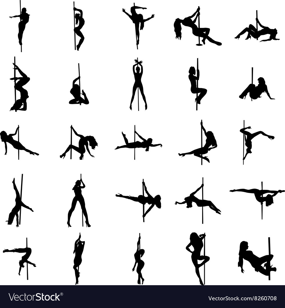Stripper silhouette set vector