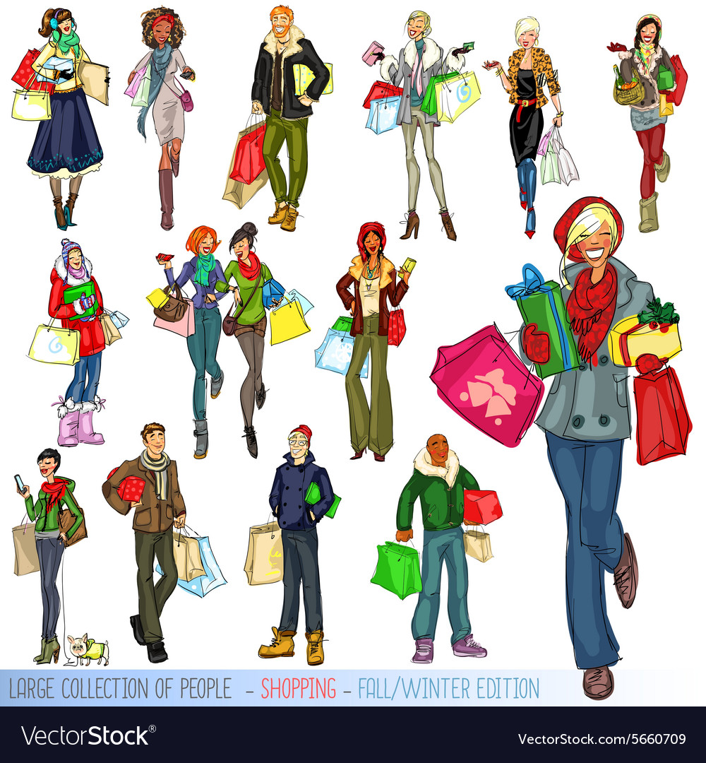 Large collection of people with shopping bags vector