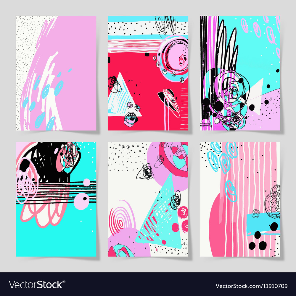 Set of 6 modern abstract digital contemporary vector