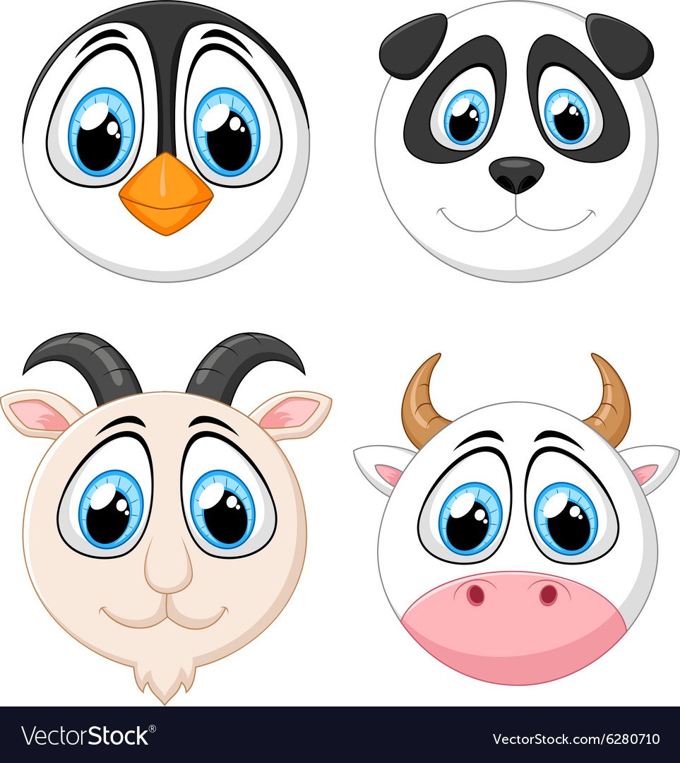 Collection baby face animal vector
