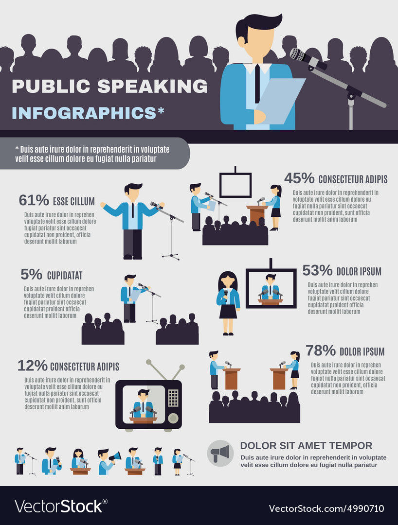 Public speaking infographics vector