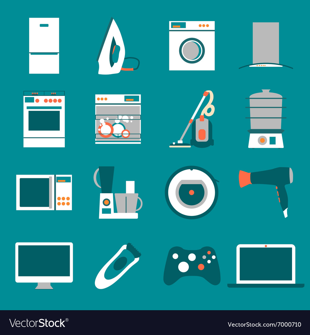 Set modern flat design icons of home appliances vector