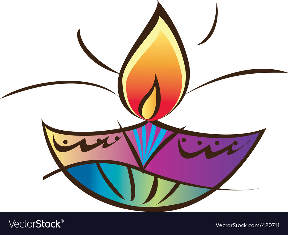 Indian diwali lamp vector
