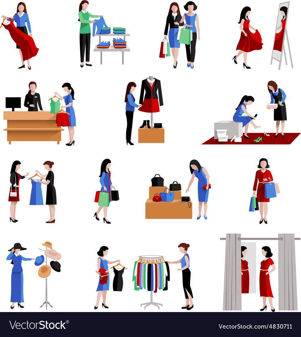 Woman shopping icons vector