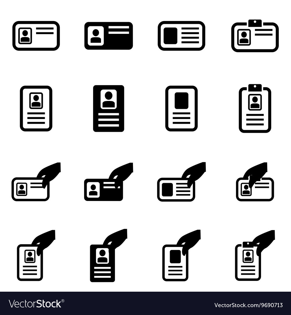 Black id card icon set vector