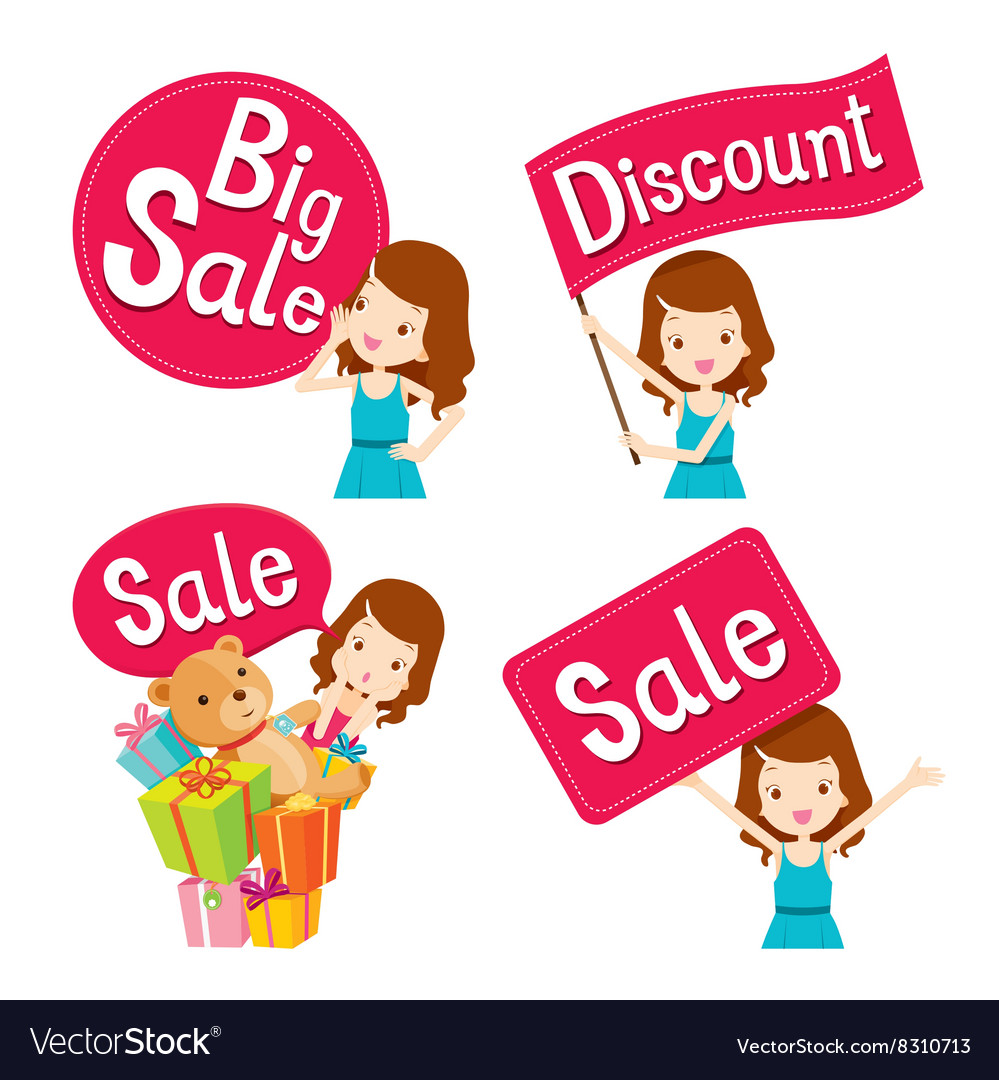 Cute girl with sale banners set vector