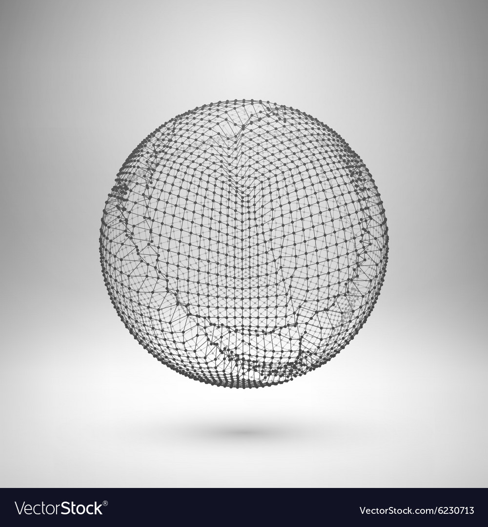 Wireframe mesh polygonal element sphere with vector