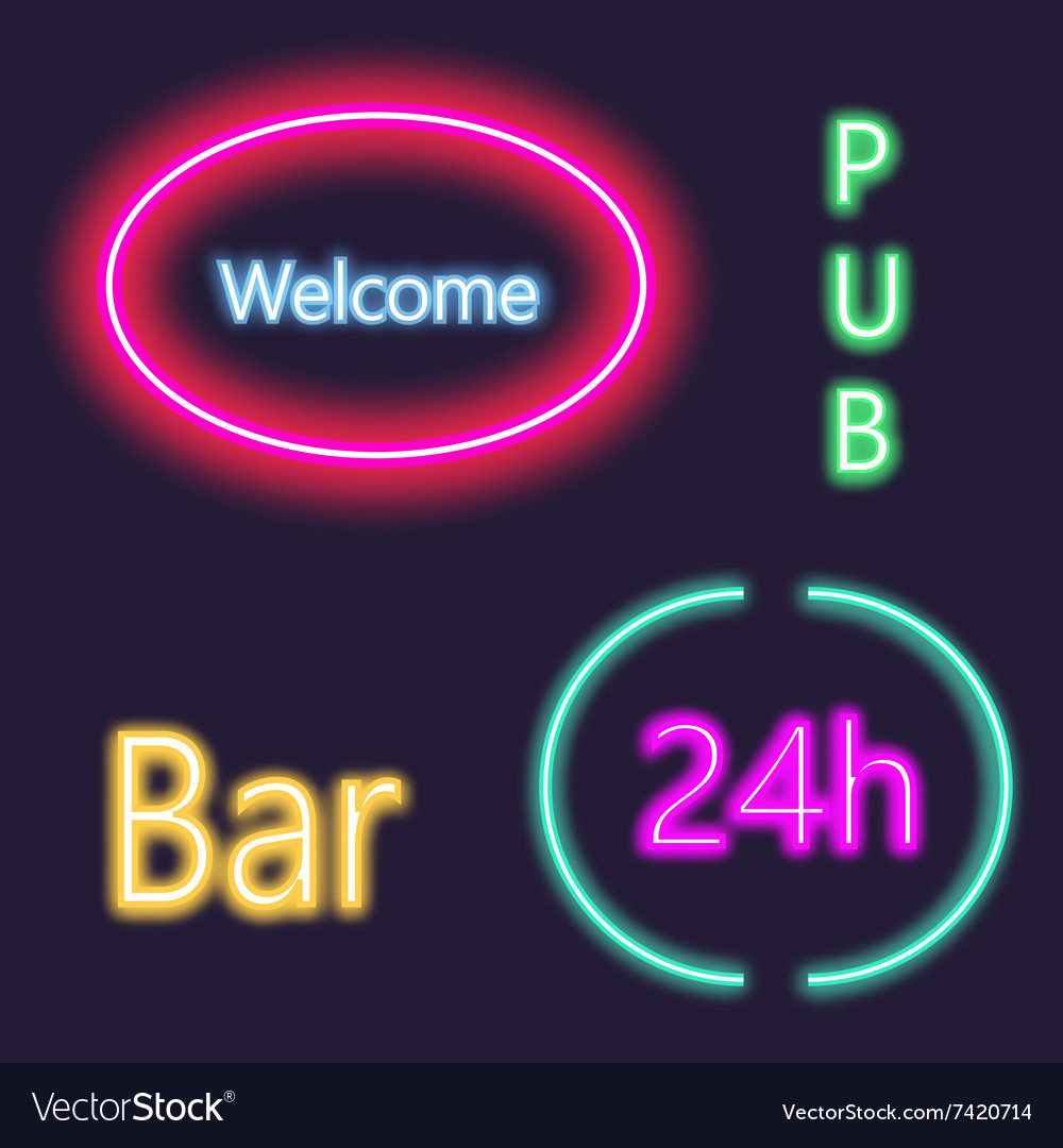 Neon lightning signboard bar welcome pub white vector