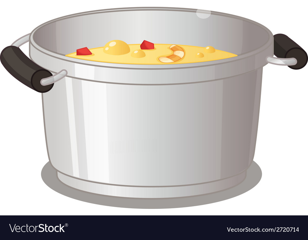 Pot of soup vector