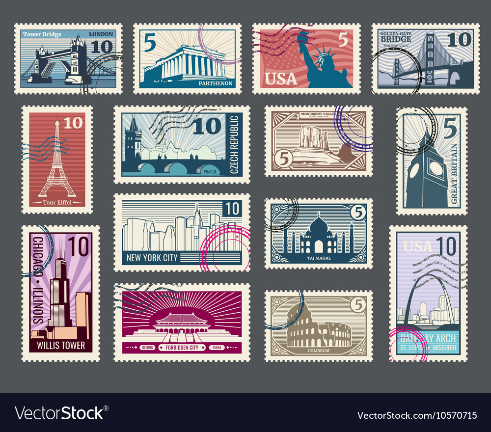 Travel vacation postage stamp with architecture vector