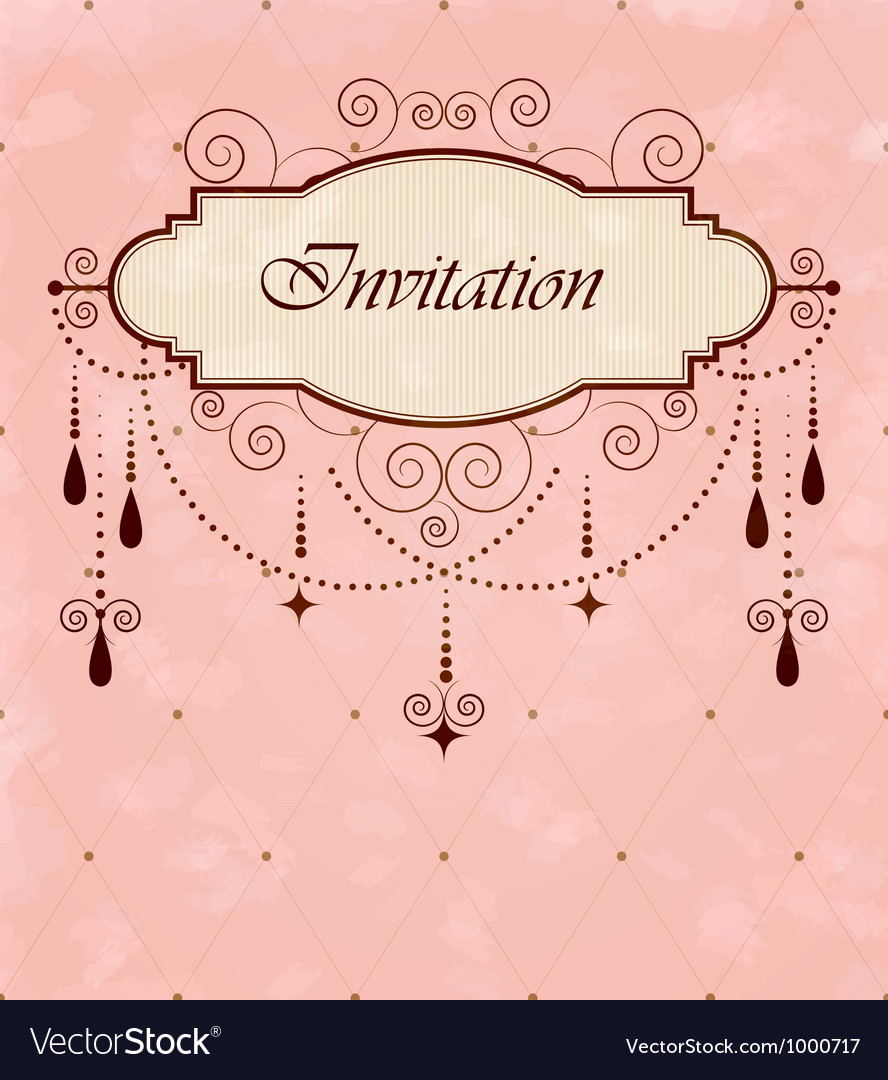 Invitation vintage card vector