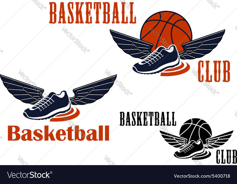 Basketball icons with winged sneakers and balls vector