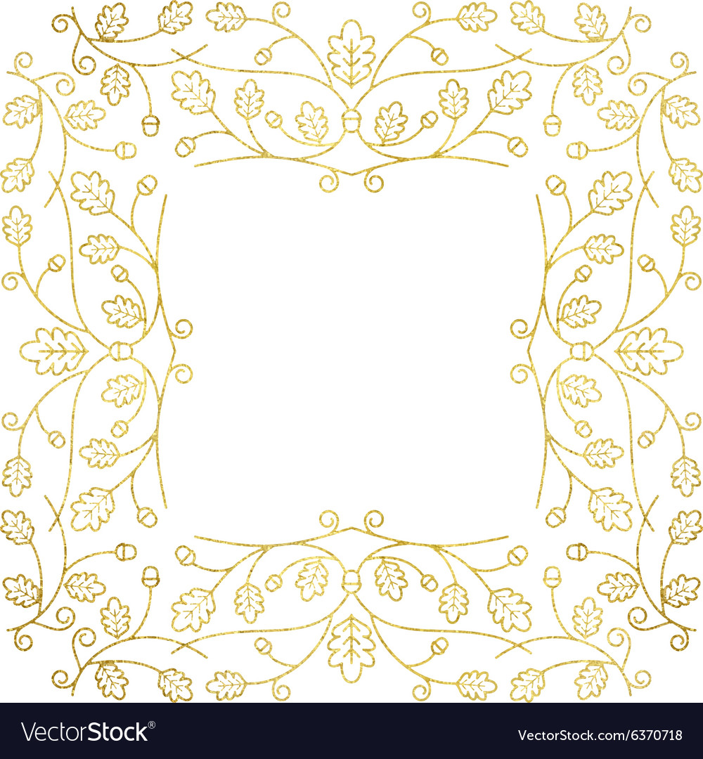 Gold autumn frame vector