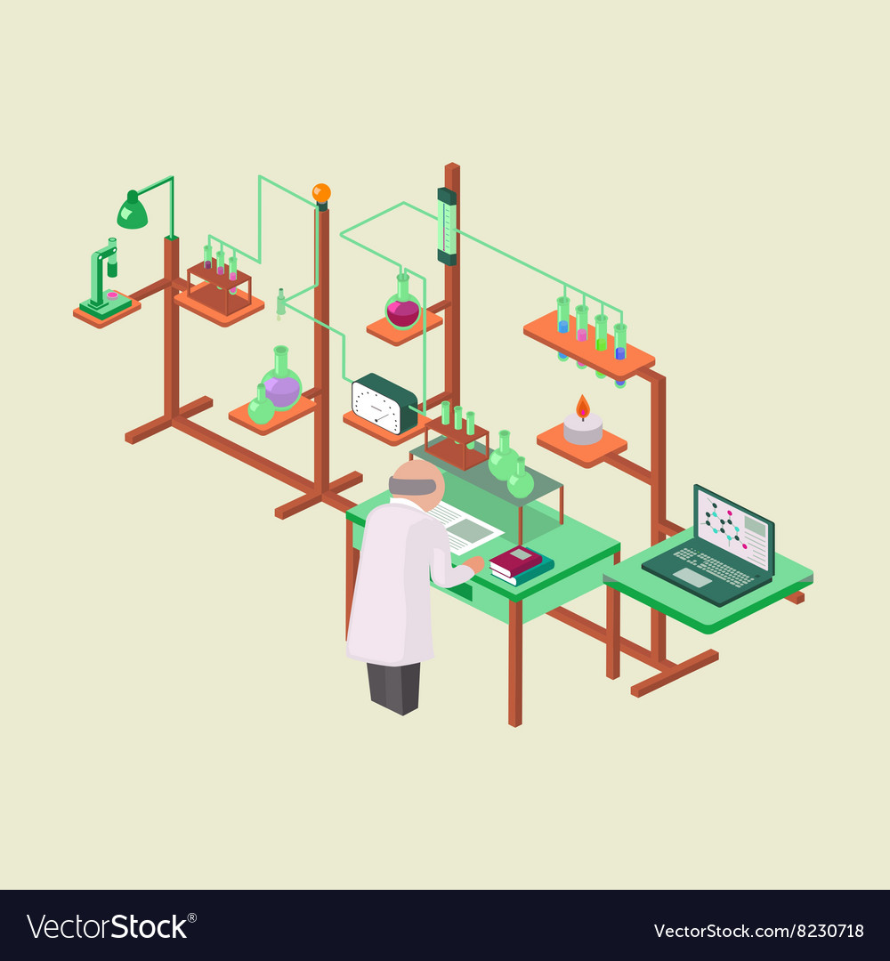 Laboratory research chemical isometric style vector