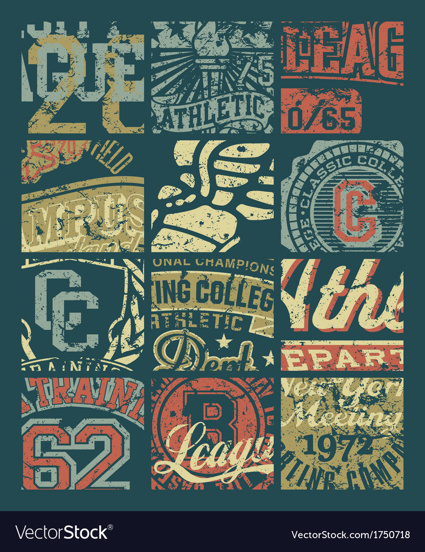 Vintage athletic department badges patchwork vector