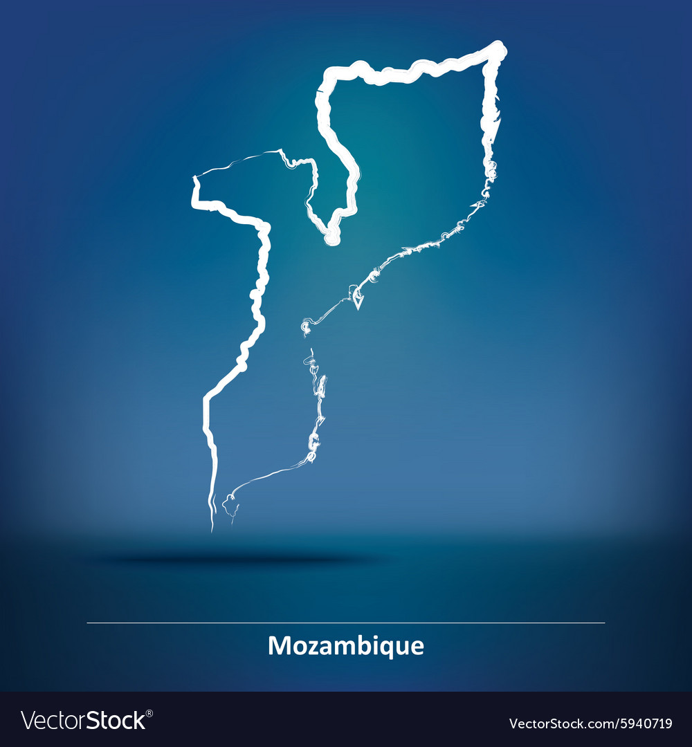 Doodle map of mozambique vector