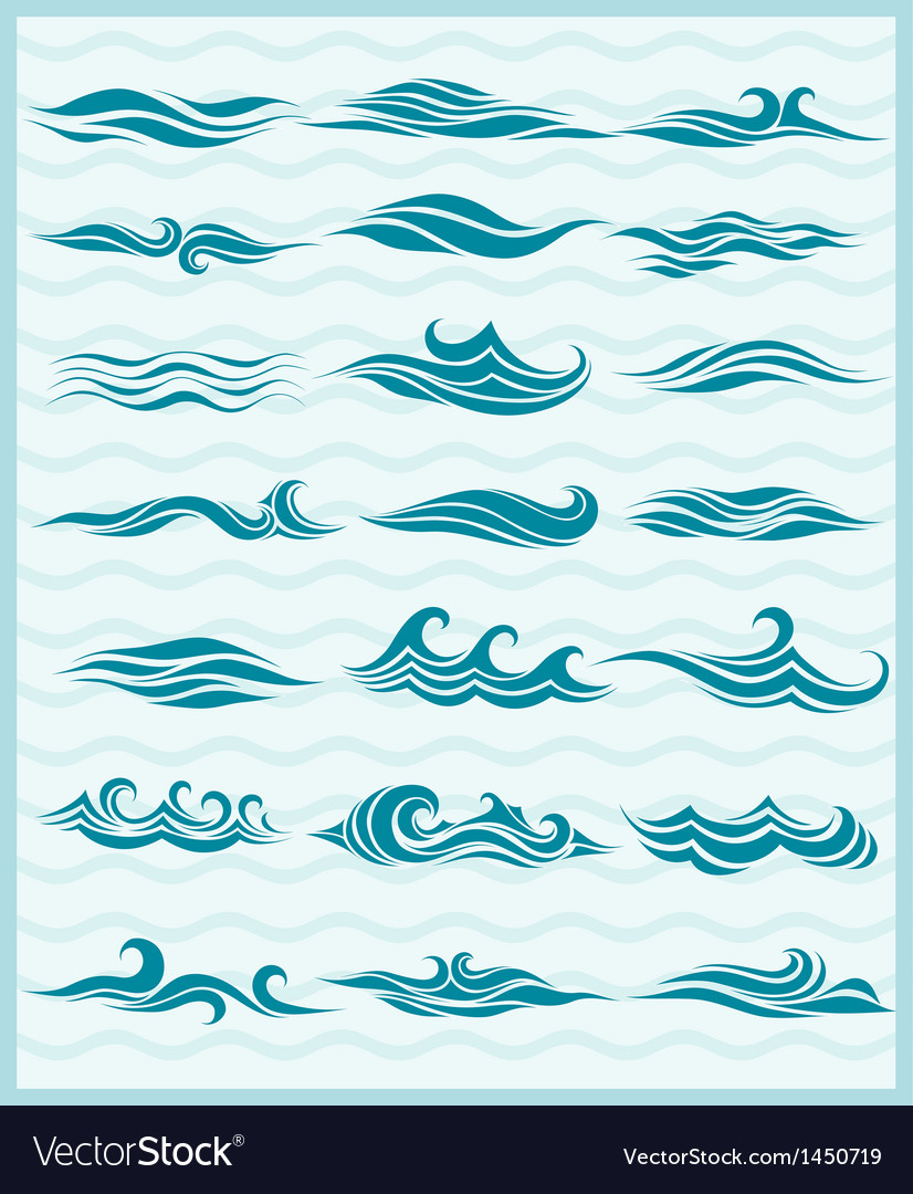 Set vektor waves vector