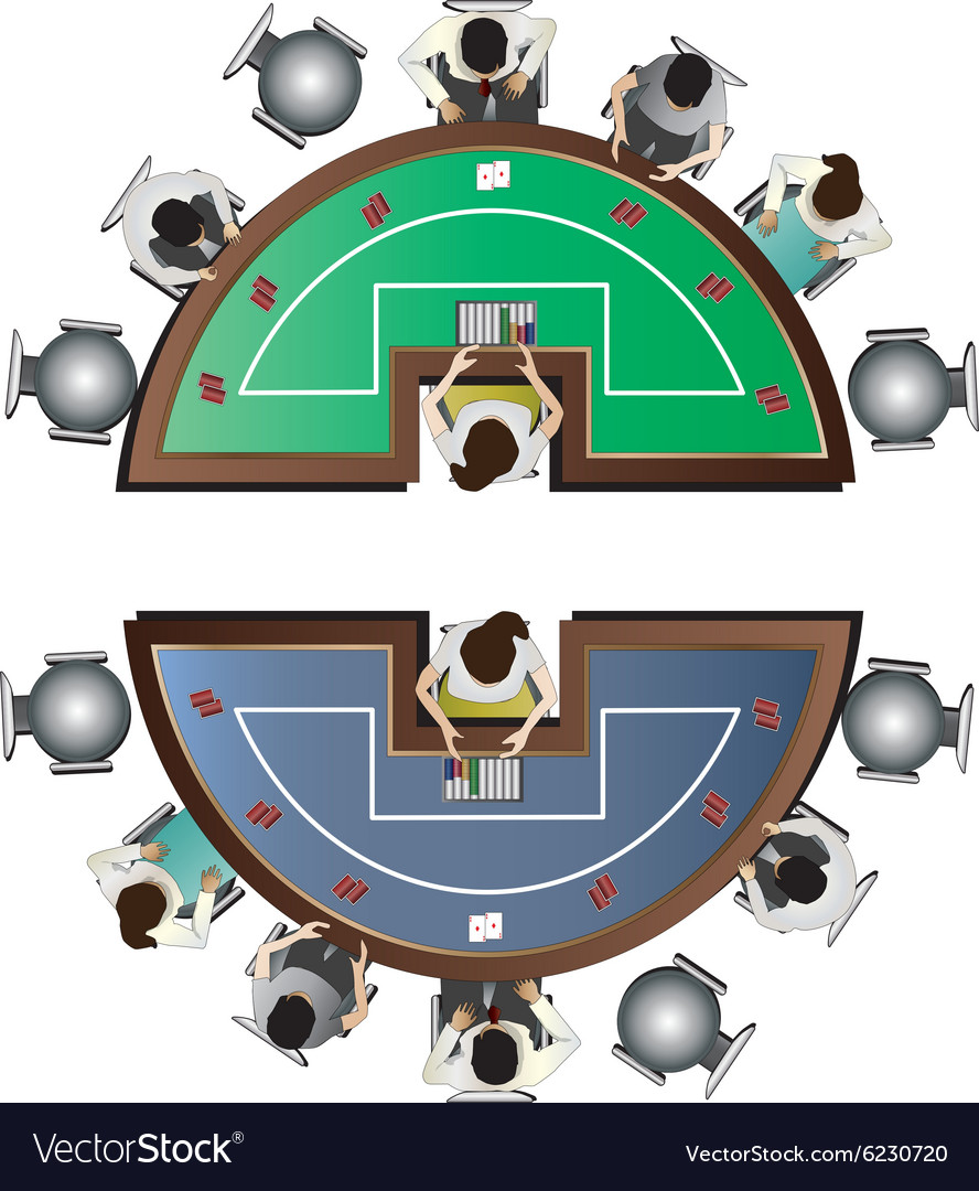 Casino furniture poker table top view set 6 vector