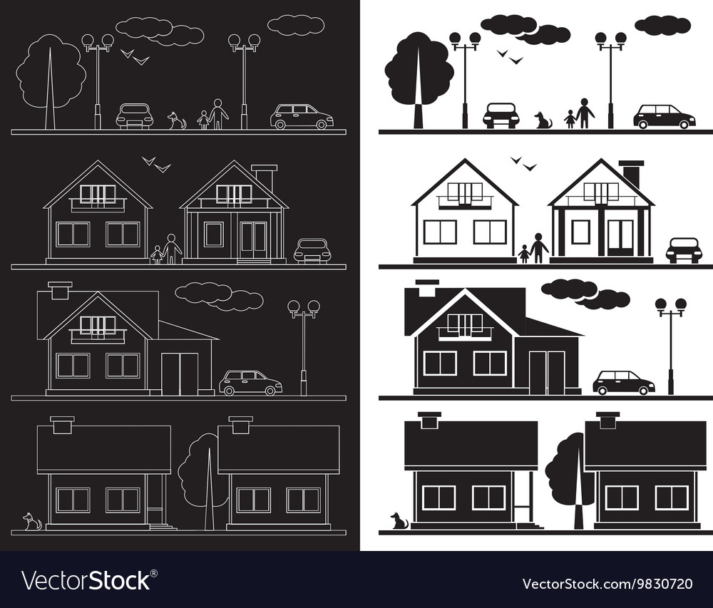 House on street icon vector