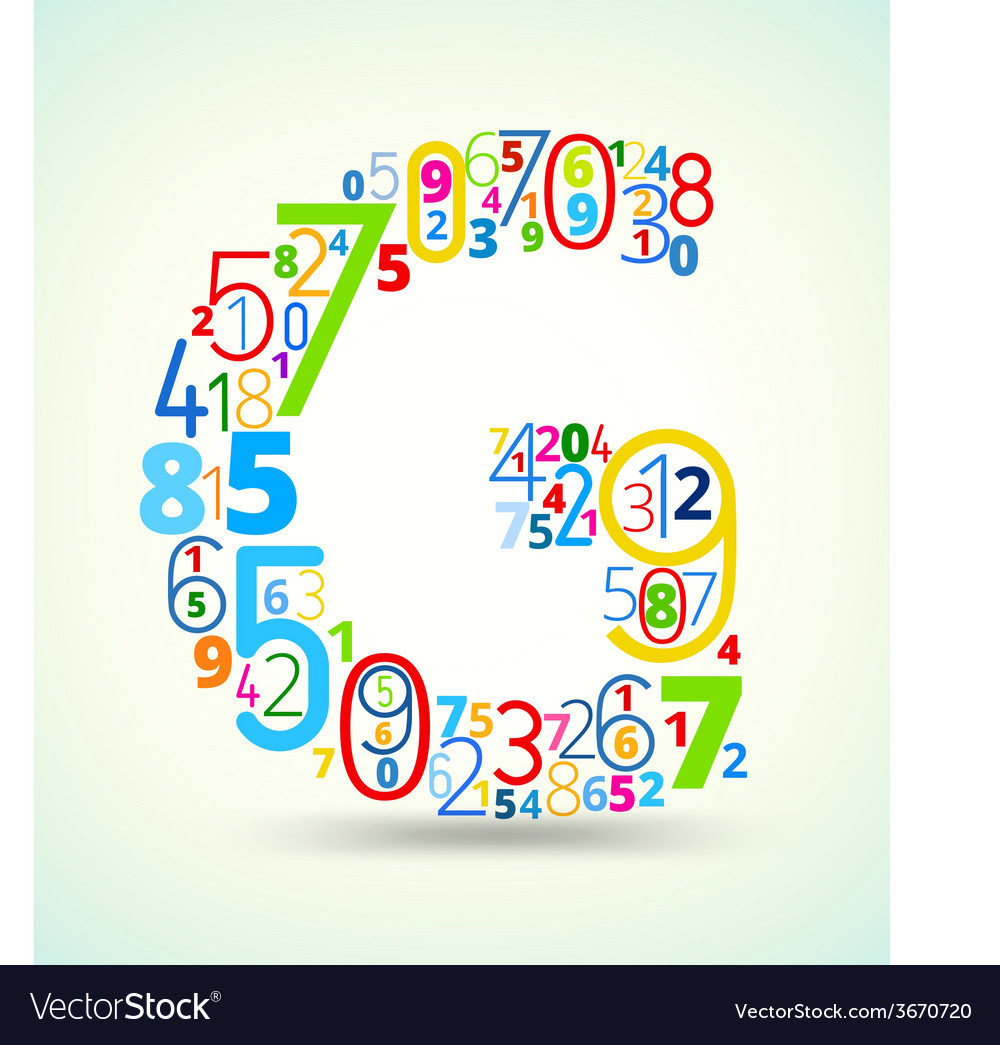 Letter g colored font from numbers vector