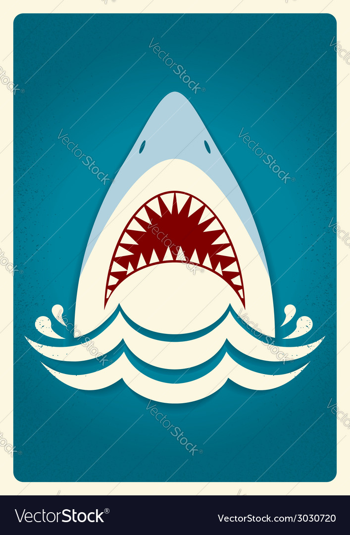 Shark jaws background vector