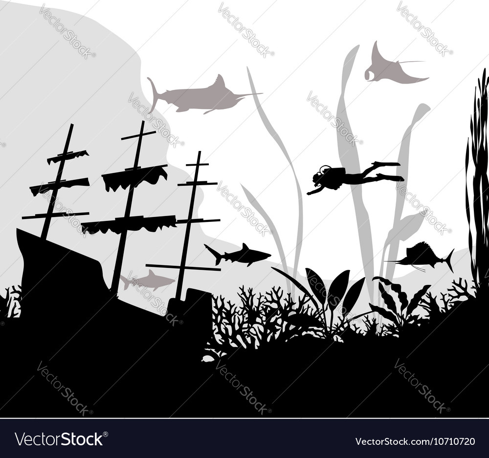 Sunken ship vector