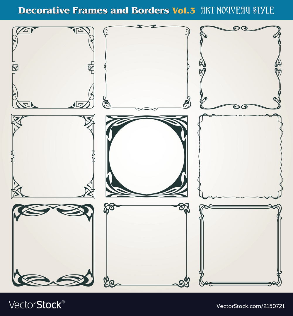 Borders and frames art nouveau style vector