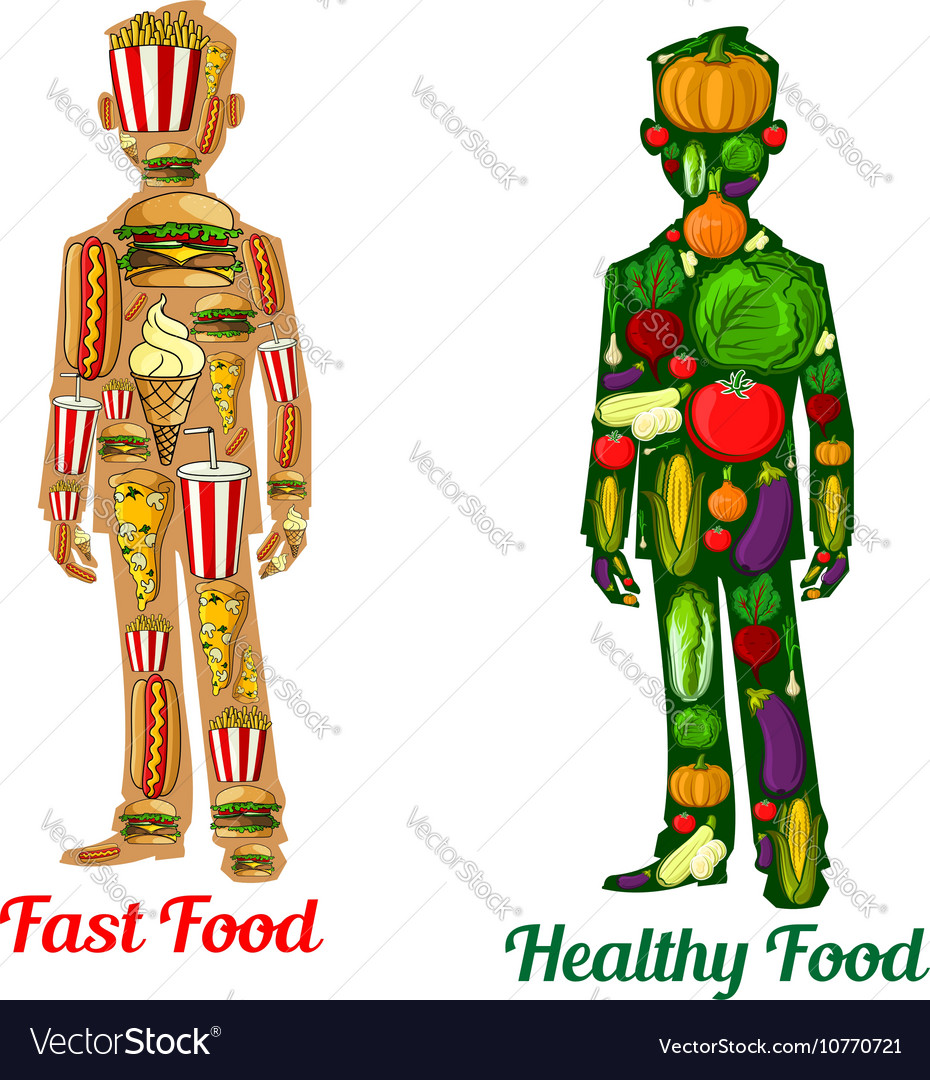 Healthy diet nutrition and fast food human icons vector