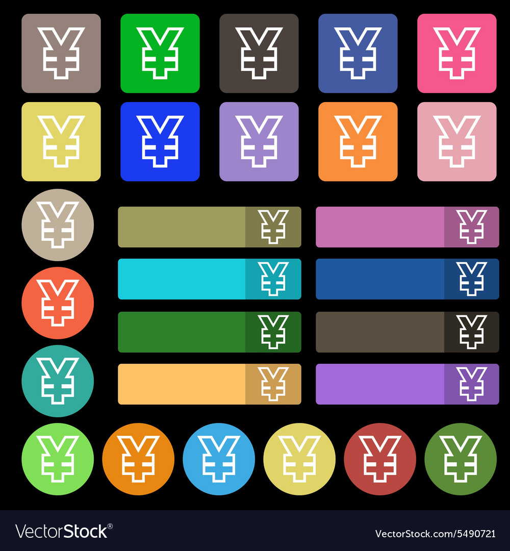 Yen jpy icon sign set from twenty seven vector