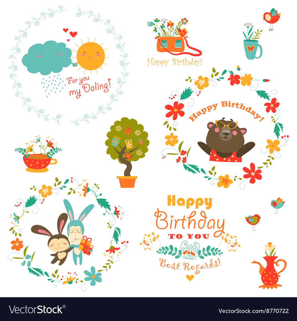 Birthday elements with cute animals and wreath vector