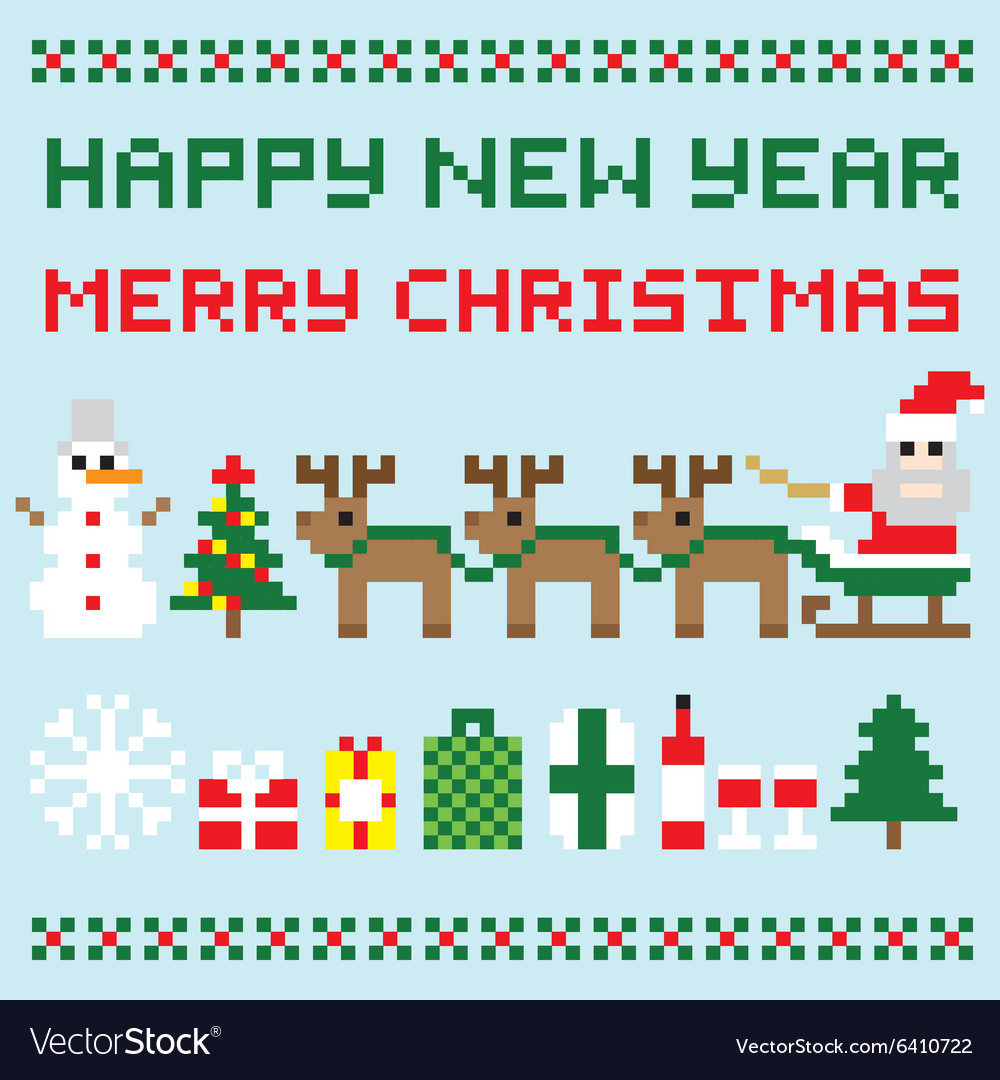 Happy new year and merry christmas isolated vector